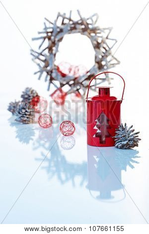 Christmas decoration with night-light and ornaments.