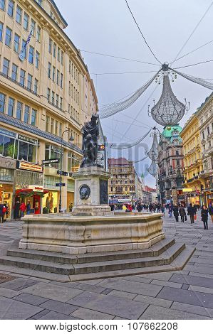 Hole Trinity Column In Graben Street Of Vienna In Austria With Christmas Decoration In The Street
