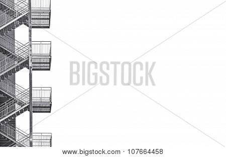 Metal Industrial Staircase On White Background