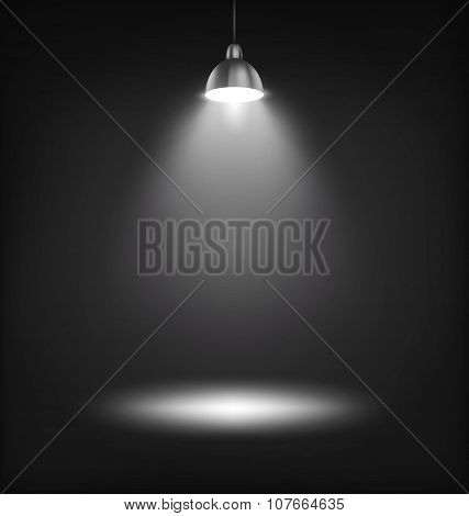 Illuminated Stage Lamp With Light Spot Template On Black
