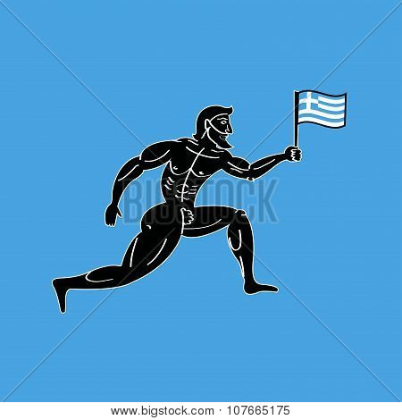 Ancient Greek Athletic Runner With National Flag Of Greece