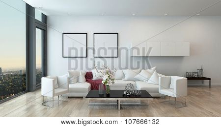 Architectural Interior of Open Concept Apartment in High Rise Condo - Low Coffee Table and White Sectional Sofa in Open Concept Modern Living Room with Modern Furnishings. 3d Rendering