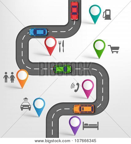 Road Infographic Travel Background With Pointers Stopovers Marks