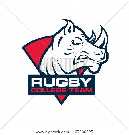 Rhino Head Sport Logo. Rugby Badge Template