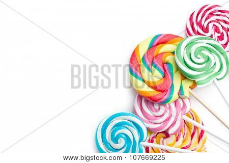 colorful swirl lollipop on white background