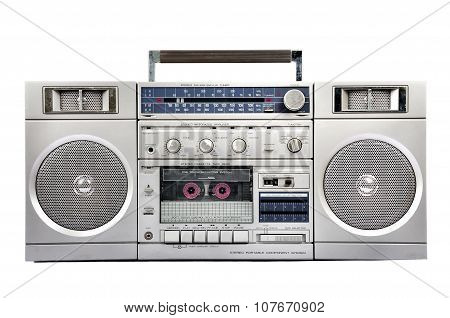 1980S Silver Radio Boom Box  Isolated On White. Front