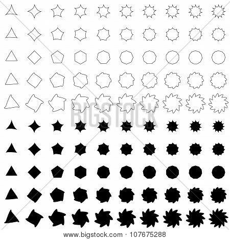 Black deformed polygon shape collection