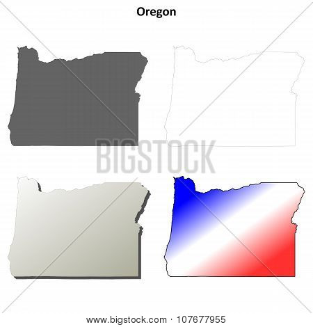 Oregon outline map set