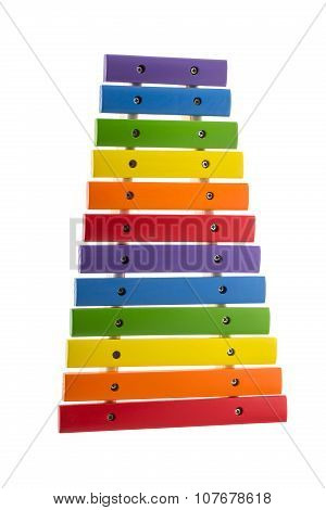 Rainbow Toy Xylophone Isolated On White