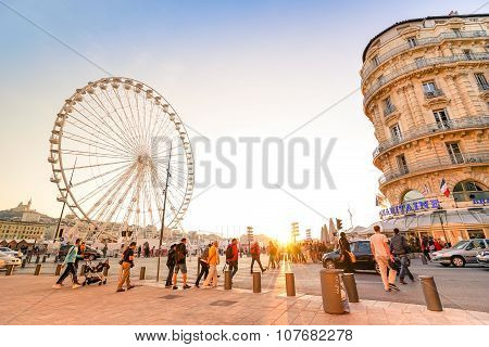 Everyday Life With Local People And Tourists At Old Sea Port of Marseille