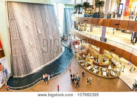 Artistic Waterfalls In Dubai Mall, The World's Largest Shopping Mall