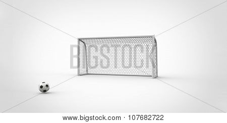 A Black And White Soccer Ball Football And A Goal Post