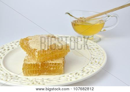 Picturesque Pieces Of Honeycomb And Honey