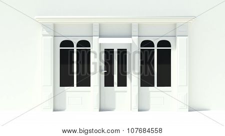 Sunny Shopfront With Large Windows White Store Facade With Awnings