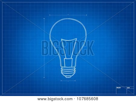 Architect Blueprint With Electric Bulb