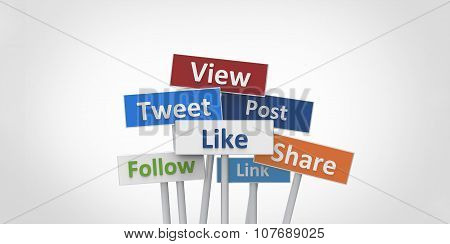 3D View Tweet Like Follow Post Link Share Street Signs Illustration Design On White Gray Background
