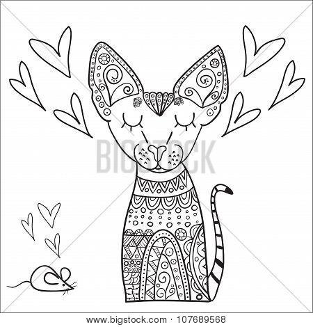 Hand Drawn Canadian Sphinx Vector Illustration.