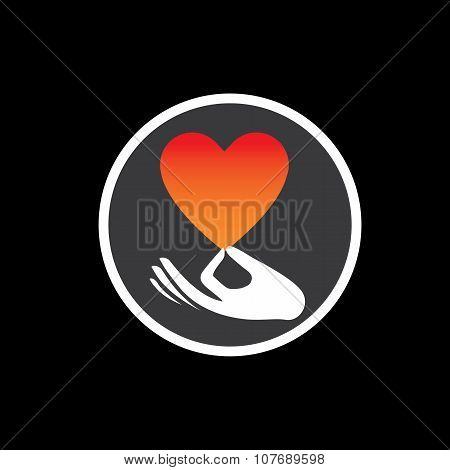Heart Or Love Symbol In Hand Vector Logo Icon On Black