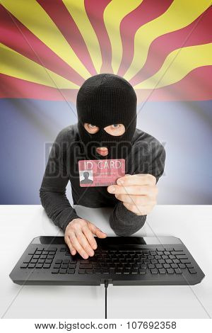 Hacker With Usa States Flag On Background And Id Card In Hand - Arizona