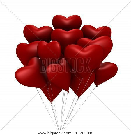 Red heart shaped balloons - a 3d image
