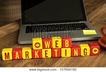 Web Marketing written on a wooden cube in a office desk