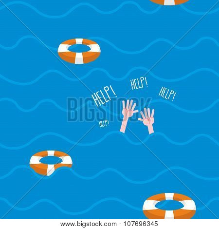 Man Drowns  Seamless Pattern. Lifebuoy On Waves Of Sea. Texture Of Sinking Man Raised His Hands And