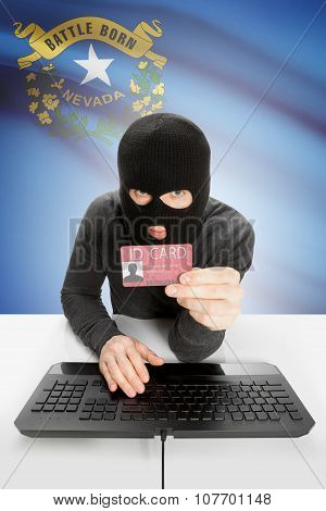 Hacker with ID card in hand and USA states flag on background - Nevada poster