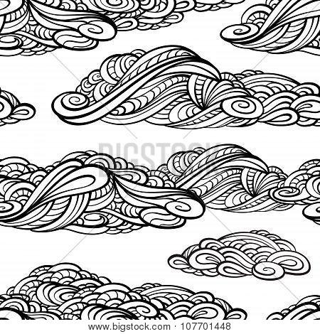 Stylized clouds seamless pattern