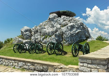 Memorial Shipka in Bulgaria with old cannons