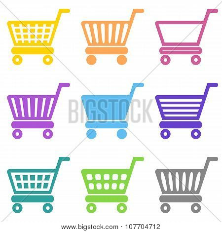 Colorful Vector Shopping Cart Icons