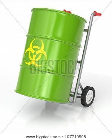 Hand Truck With Biohazard Barrel