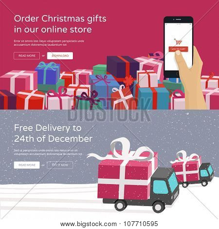 Hand holding mobile phone and ordering Christmas gifts & Free Delivery service for online store. Modern vector illustration banners for website.