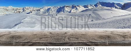 Panoramic View Of Mountain  In Winter