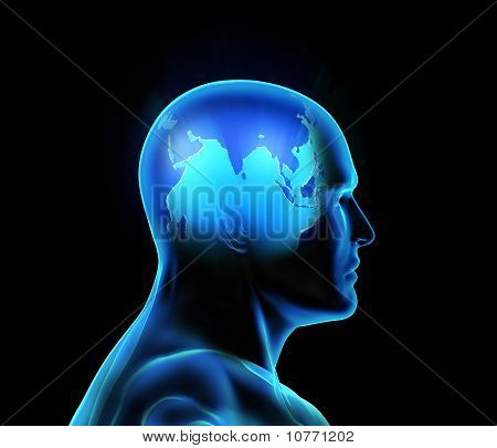 Global thinking man