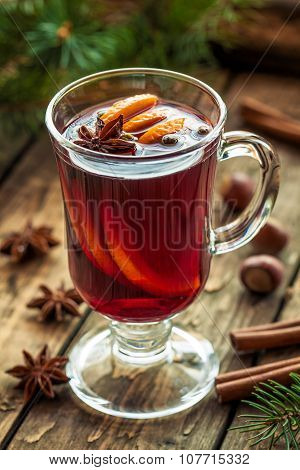 Traditional grog hot alcohol spiced drink recipe. Homemade winter christmas or thanksgiving holiday