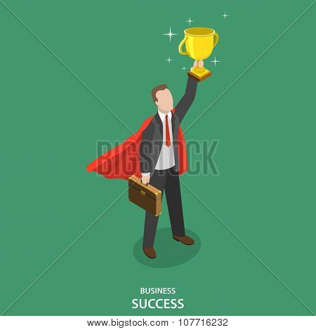 Business success isometric flat vector concept.
