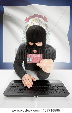Hacker With Usa States Flag On Background And Id Card In Hand - West Virginia