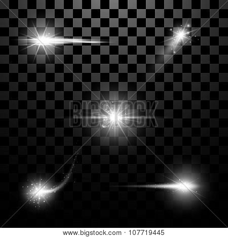 Set Of Lighting Flare. Abstract Image. Stock Vector
