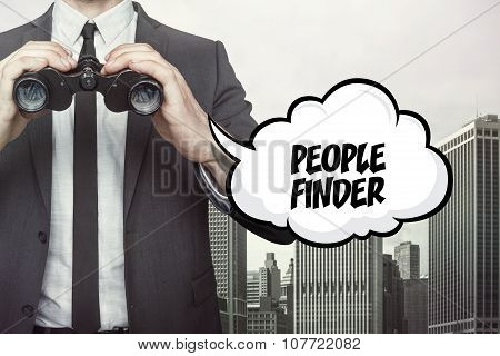 People finder text on speech bubble with businessman holding binoculars