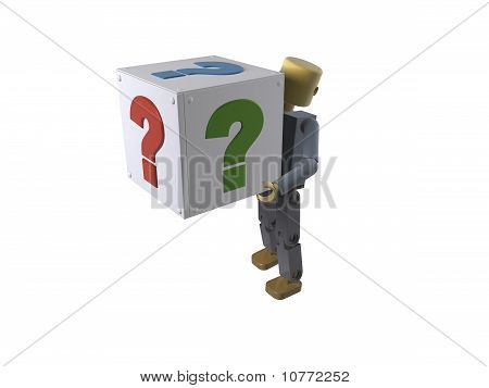 3D figure carrying a box with question mark