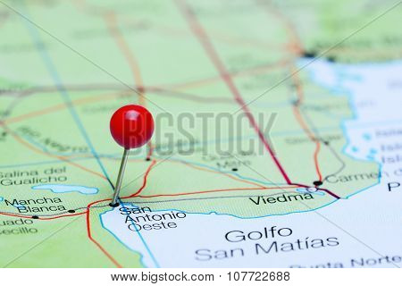 San Antonio Oeste pinned on a map of Argentina