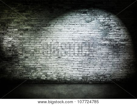 Spot Light On Old Brick Wall