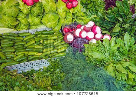Herbage and salad at a market