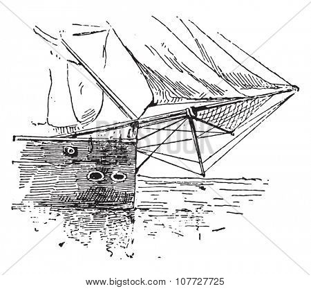 Bowsprit, vintage engraved illustration. Dictionary of words and things - Larive and Fleury - 1895.