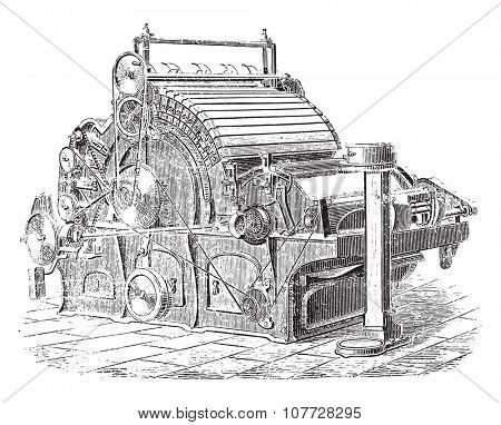 Carding machine Joint Dobson and Barlow, vintage engraved illustration. Industrial encyclopedia E.-O. Lami - 1875.