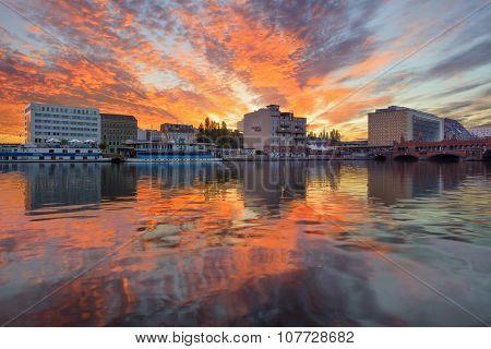 Berlin, Germany, - August 30, 2015: Sunrise on Spree river