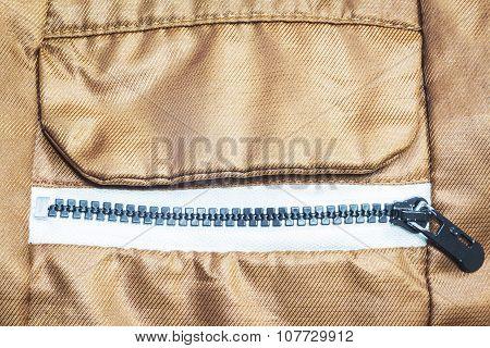 Close - up zippered pocket of coats