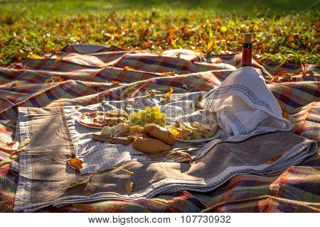 Picknick Outside In Autumn Nature