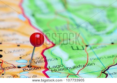 Pucon pinned on a map of Chile