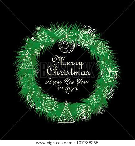 Xmas wreath with lacy decoration poster